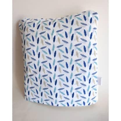 Coussin Plaid blanc « Petites Plumes Bleues » format coussin