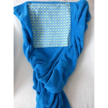 Coussin Plaid Turquoise « Les Caraibes » format coussinCoussin Plaid Turquoise « Les Caraibes » déplié en format plaid