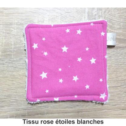 lingette réutilisable tissu rose étoiles blanches