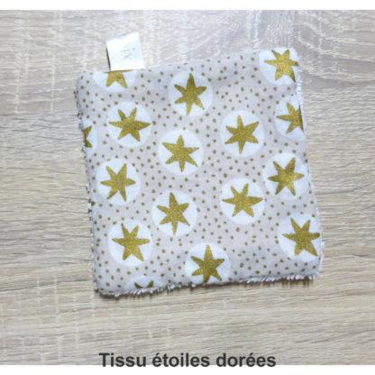 lingettes réutilisables tissu étoiles dorées